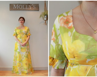 1970s Yellow and Green Floral Maxi Dress