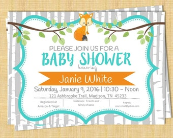 Baby Shower Woodland Theme with Fox and Birch Background