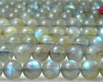 47 pcs of  A A Grade--Natural Labradorite smooth round beads in 8mm (2#)