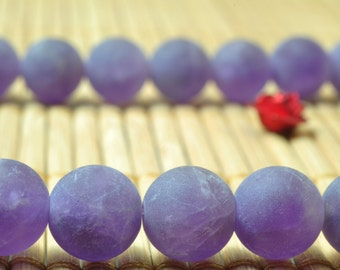 47 pcs of Natural Amethyst matte round beads in 8mm