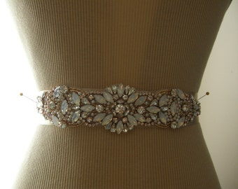 Sale, Rose Gold Wedding Belt, Wedding Sash, Bridal Belt, Bridesmaid Belt, Sash Belt, Rose Gold, Crystal Rhinestone, Pearl & Opal