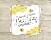 Favor Tags - Digital - Bee Thank You Tags for Baby Shower - Mommy to Bee - Thank You For Beeing Our Guest - Printable - INSTANT DOWNLOAD