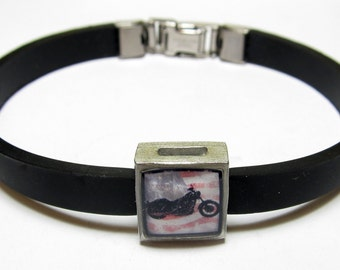 American Flag Motorcycle Link With Choice Of Colored Band Charm Bracelet
