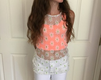 Vintage Lace Floral Alternative White And Green Sheer Sunflower Floral Transparent flower Top Size Small
