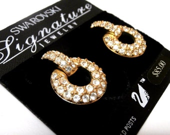 Signed Swarovski Post Earrings Gold Plated set with Crystals New