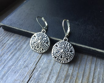Tibetan Silver Sand Dollar Earrings With Lever Backs