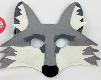 Wolf Mask or Coyote Mask for Pretend Play and Dress up, 100% Wool Felt, Eco Friendly, Sustainable toys