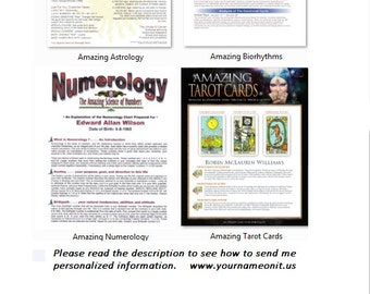 Tarrot Cards Astrology - Numerology -Biorhythms - Personalized Just For You