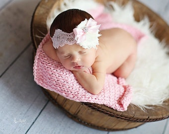 Baby Flower Headband - Newborn Headband - Flower Girl Headband - Photo Prop -Ivory and Pink Shabby Flower Headband