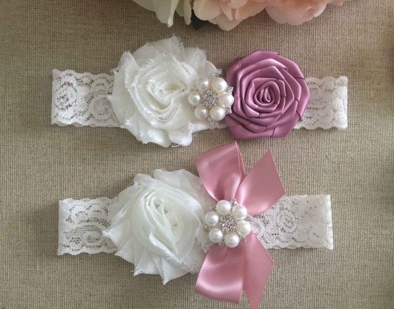 Wedding Garter Bridal Garter Mauve Pink And Ivory Flower