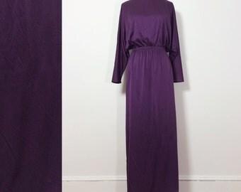 Vintage 1970s Purple Dress / Dolman Sleeve Dress / Eggplant Dress / 1970s Womens Maxi Dress Large / Disco Dress