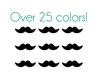 Mustache Nail Decals - Vinyl, Custom Choice of Color