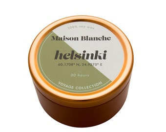 Helsinki Travel Candle. Hand-poured. 30 hr burn time