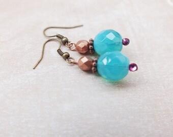 Turquoise Earrings - Boho Earrings- Spring fashion- Spring earrings- Rhinestone Earrings - Gypsy Earrings