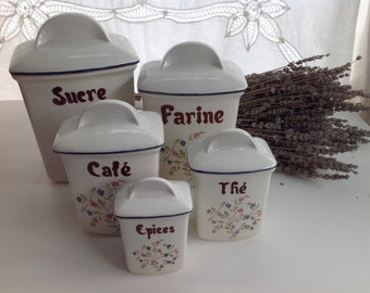 Vintage French Cannister Set, Set of 5 French Kitchen Ceramic Cannisters, French Farmhouse Kitchen Decor, Vintage French Kitchen Storage