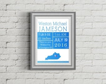 University Kentucky UK Baby Announcement for Framing or printable cards Wildcat Shower Gift