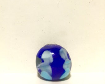 Lampwork glass blue and light blue spotted bead