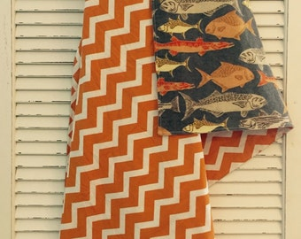 Orange Chevron Gone Fish'n Blanket