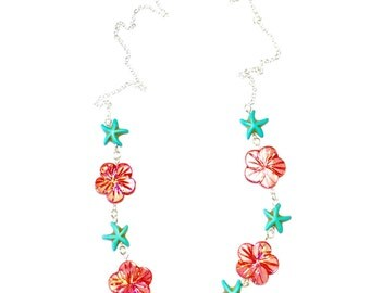 Fuchsia Hibiscus and Turquoise Starfish Necklace