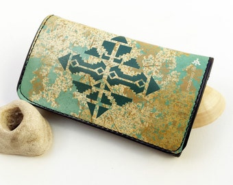 Original Tobacco Bag, Pouch For Rolling Tobacco, Turquoise Vegan Tobacco Case, Gift Idea, Tobacco Accessories, Tobacco Case, Gift For Her