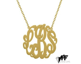 """Gold Monogram necklace - any initial gold monogram necklace 2"""" gold plated 18k on .925 silver"""