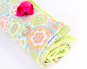 Floral mandala baby blanket, 36x36 inch, New Baby Gift, Stroller blanket, Carseat blanket, Turquoise flower blanket, Baby Bohemian blankie