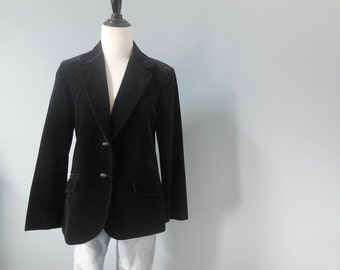 Vintage black VELVET smoking JACKET blazer jacket velvet smokers jacket womens small
