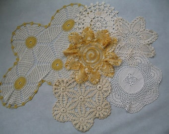 Gold and White Crocheted Doily Collection - 6 Piece Lot, Craft Supplies, Vintage Yellow Crochet Doilies