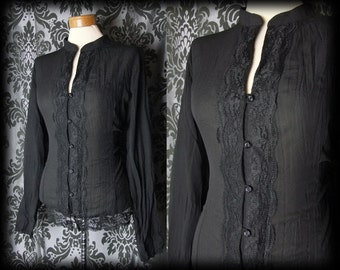 Gothic Black Crinkle Lace Detail MAYHEM High Neck Blouse 14 16 Vintage Victorian