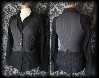 Goth Brown Pinstripe Fitted MISFORTUNE Corset Waistcoat 10 12 Victorian Vintage