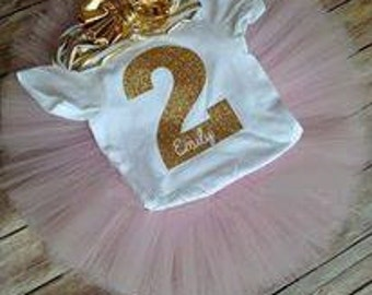 Second Birthday Outfit /Pink and Gold Two Birthday Outfit/Second Birthday Outfit