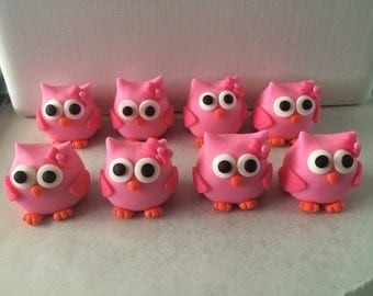 Cake or Cupcake Topper Fondant Owls (5)