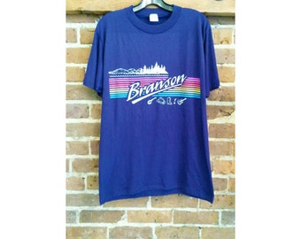 Vintage Branson rainbow stripe 80s tourist tee