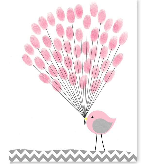 Baby Shower Bastelideen ~ Bird guest book fingerprints baby shower accessories