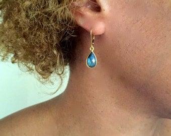 Labradorite teardrop earrings- Small labradorite dangle earrings- Dainty earrings
