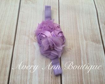 Purple Headband, Flower Girl Headband, Baby Purple Headband, Newborn Purple Headband, Flower Headband, Lavender Headband, First Birthday,