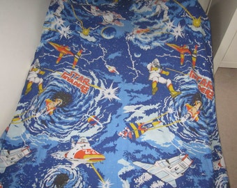 Star Invaders Boys Space  Single Twin Duvet Cover And Matching Pillowcase, 90's Children's Bedding Or Project Fabric