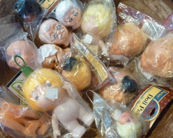 Doll Head Rubber Plastic Clown Angel Old Man Woman Baby Vintage Craft Supply Assemblage Lot