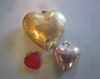 3 Vintage Heart Charms in Heart Tin
