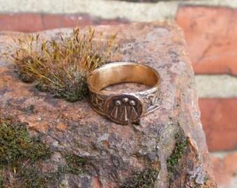 Awen Druid Bronze Ring (Large) Handmade by the Green Man