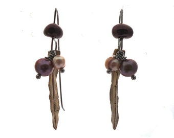 Bronze pearls dangling earrings, hand sculpted Art Clay silver, soft pink bordeaux freshwater pearls, dark purple Czech glass, stainless