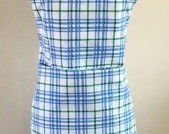 Pretty Checkered Blue and White Apron with Top Pocket