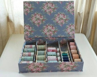 DIY kit quilt spoolbox for making a fabric cartonnage or cardboard quilt spool, sewing or storage box