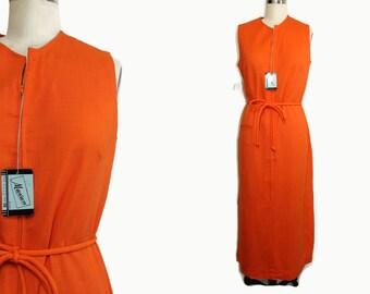 1960s Long Dress M / Resort Dress / Mumu Dress / House dress / Lounge dress / Casual Dress Sleeveless Orange Deadstock New