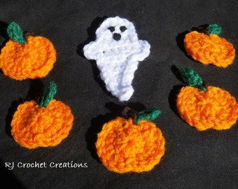 Crochet Halloween Applique set Pumpkins and Ghost