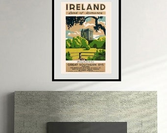 Reprint of a Vintage 1930s Ireland Travel Poster