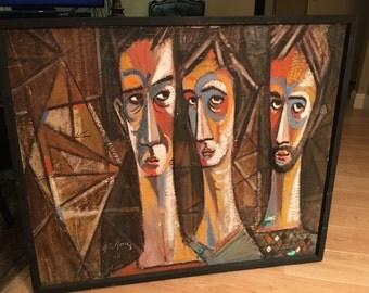 Vintage mid century cubist oil painting of three men by J.R. Gomez 1960