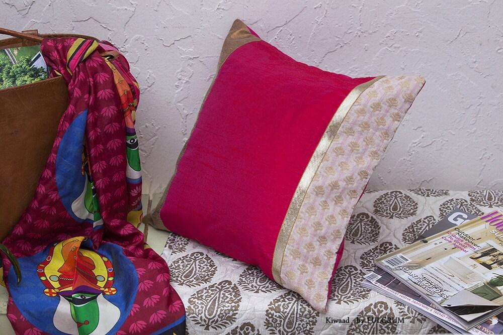 Fuschia Pink Silk Decorative Pillow /Cushion cover