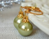Reserved - Custom Sage Green Glass Pearl Earrings and Necklaces in Gold - Set of 7