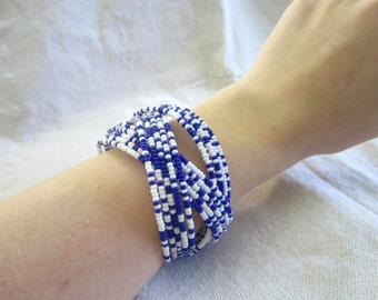 Beaded Cuff Bracelet-Blue and White